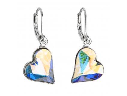 Náušnice bižuterie se Swarovski krystaly AB efekt srdce 51054.2