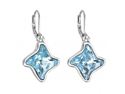 Náušnice bižuterie se Swarovski krystaly modrá hvězdička 51055.3 aqua