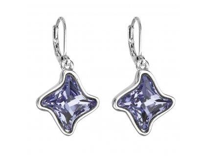 Náušnice bižuterie se Swarovski krystaly modrá hvězdička 51055.3 tanzanite