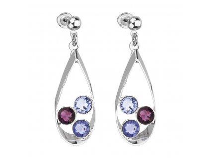 Náušnice bižuterie se Swarovski krystaly fialová slza 51064.3