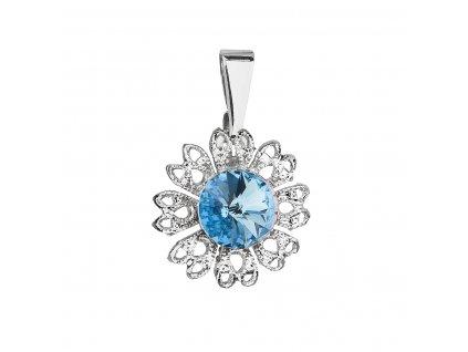 Přívěsek bižuterie se Swarovski krystaly modrá kytička 54032.3 aqua