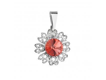 Přívěsek bižuterie se Swarovski krystaly červená kytička 54032.3 padparadcha