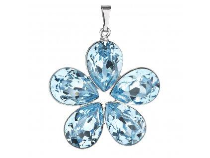Přívěsek bižuterie se Swarovski krystaly modrá kytička 54037.3 aqua