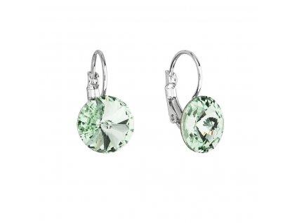 Náušnice bižuterie se Swarovski krystaly zelené kulaté 51002.3