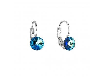 Náušnice bižuterie se Swarovski krystaly modré kulaté 51031.5