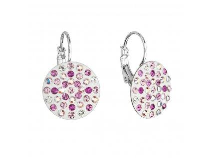 Náušnice bižuterie se Swarovski krystaly růžové kulaté 51033.3
