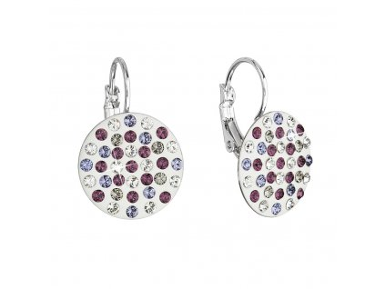 Náušnice bižuterie se Swarovski krystaly fialové kulaté 51033.3