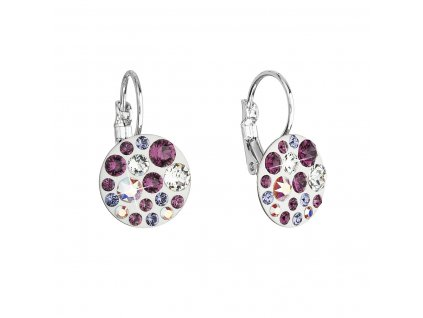 Náušnice bižuterie se Swarovski krystaly fialové kulaté 51035.3 amethyst