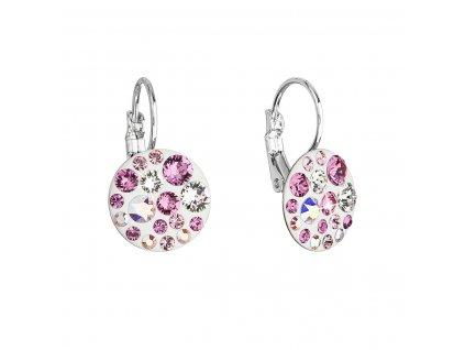 Náušnice bižuterie se Swarovski krystaly růžové kulaté 51035.3