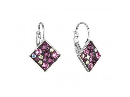 Náušnice bižuterie se Swarovski krystaly fialové kosočtverec 51036.3