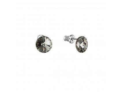 Náušnice bižuterie se Swarovski krystaly šedé kulaté 51037.3
