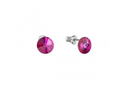 Náušnice bižuterie se Swarovski krystaly růžové kulaté 51037.3 fuchsia