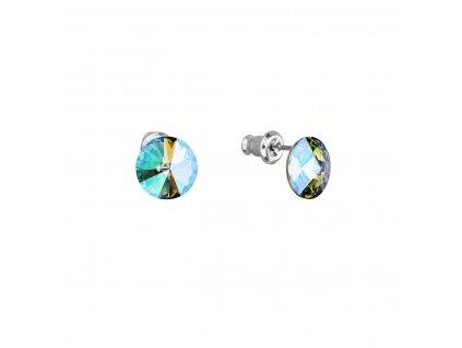 Náušnice bižuterie se Swarovski krystaly zelené fialové kulaté 51037.5