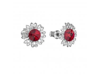 Náušnice bižuterie se Swarovski krystaly červená kytička 51042.3 siam