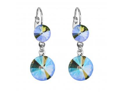 Náušnice bižuterie se Swarovski krystaly zelená fialová kulaté 51044.5