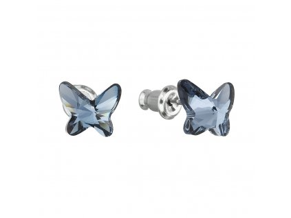 Náušnice bižuterie se Swarovski krystaly modrý motýl 51048.3