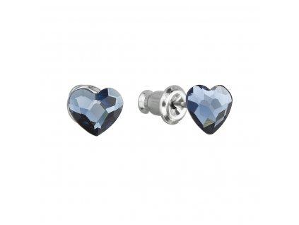 Náušnice bižuterie se Swarovski krystaly modrá srdce 51050.3