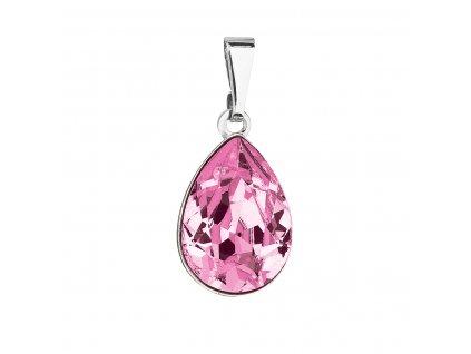 Přívěsek bižuterie se Swarovski krystaly růžová slza 54016.3