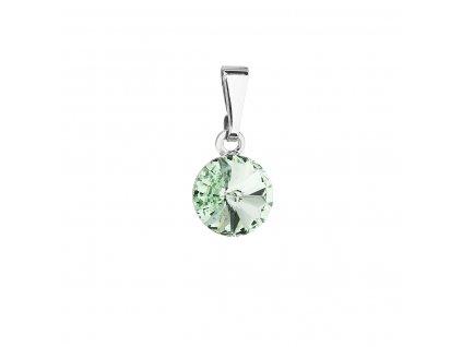 Přívěsek bižuterie se Swarovski krystaly zelený kulatý 54018.3