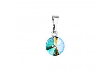 Přívěsek bižuterie se Swarovski krystaly zelený fialový kulatý 54018.5