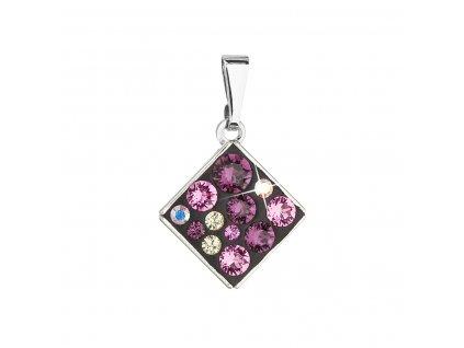 Přívěsek bižuterie se Swarovski krystaly fialový kosočtverec 54020.3