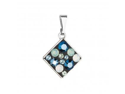Přívěsek bižuterie se Swarovski krystaly modrý kosočtverec 54020.4