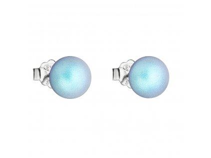 Stříbrné náušnice pecka se světlemodrou matnou Swarovski perlou 31142.3
