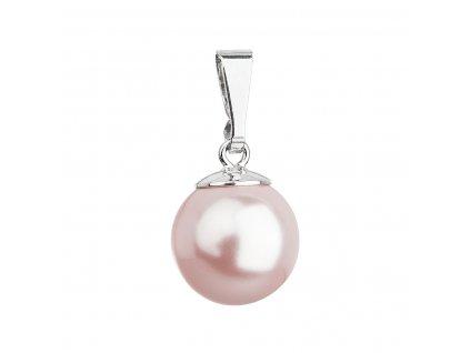 Stříbrný přívěsek s růžovou kulatou Swarovski perlou 34150.3