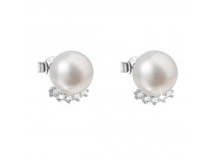 Stříbrné náušnice pecky s bílou říční perlou 21020.1