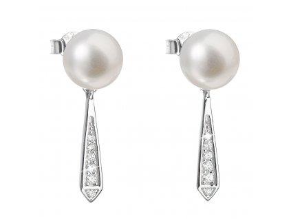 Stříbrné náušnice visací s bílou říční perlou 21036.1
