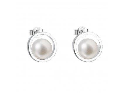 Stříbrné náušnice pecky s bílou říční perlou 21041.1