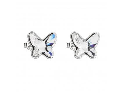 Stříbrné náušnice pecka s krystaly Swarovski bílý motýl 31251.1