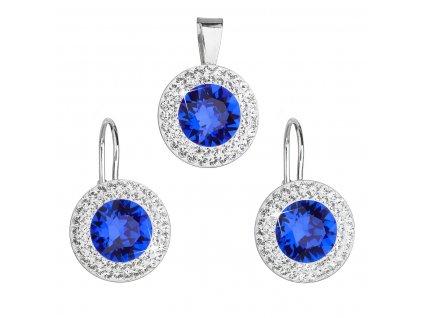 Sada šperků s krystaly Swarovski náušnice a přívěsek modré kulaté 39107.3 majestic blue