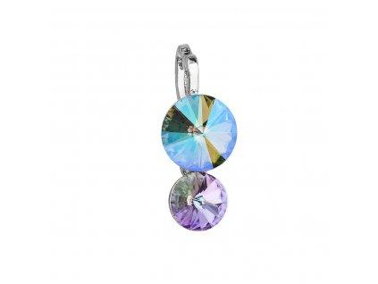 Přívěsek bižuterie se Swarovski krystaly zelený fialový kulatý 54028.5