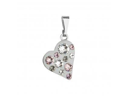 Přívěsek bižuterie se Swarovski krystaly šedé srdce 54027.3