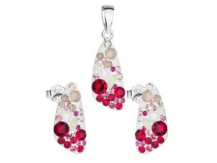 Sada šperků s krystaly Swarovski náušnice a přívěsek mix barev 39167.3 sweet love