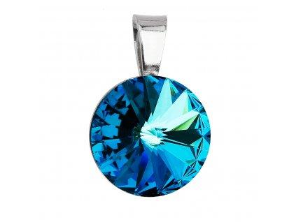 Stříbrný přívěsek s krystaly Swarovski modrý kulatý-rivoli 34112.5 bermuda blue