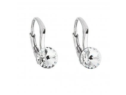 Stříbrné náušnice visací s krystaly Swarovski bílé kulaté 31230.1