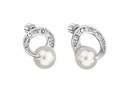 Stříbrné náušnice pecka s perlou Swarovski bílé kulaté 31239.1