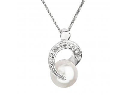 Stříbrný náhrdelník s perlou Swarovski bílý kulatý 32048.1