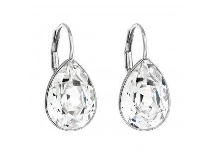 Stříbrné náušnice visací s krystaly Swarovski bílá slza 31231.1