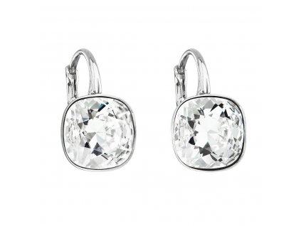 Stříbrné náušnice visací s krystaly Swarovski bílý čtverec 31241.1