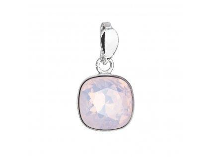 Stříbrný přívěsek s krystalem Swarovski růžový čtverec 34224.7