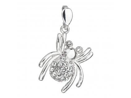 Stříbrný přívěsek s krystaly Swarovski bílý pavouk 34220.1