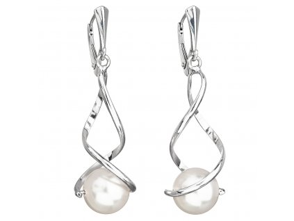 Stříbrné náušnice visací s perlou Swarovski bílé kulaté 31224.1