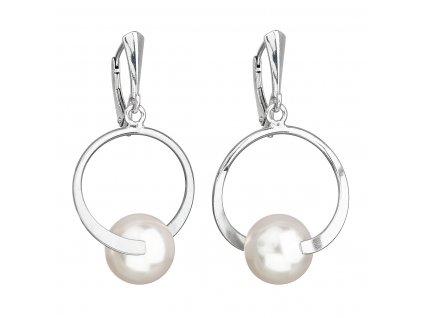 Stříbrné náušnice visací s perlou Swarovski bílé kulaté 31223.1