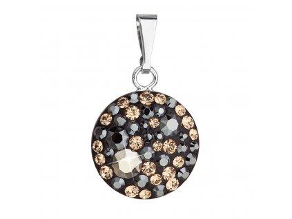 Stříbrný přívěsek s krystaly Swarovski mix barev kulatý 34225.4 colorado