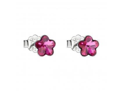 Stříbrné náušnice pecka s krystaly Swarovski růžová kytička 31080.3 fuchsia
