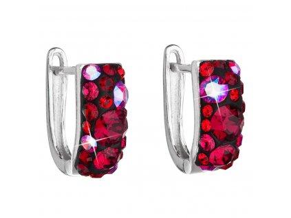 Stříbrné náušnice visací s krystaly Swarovski červený půlkruh 31123.3 cherry