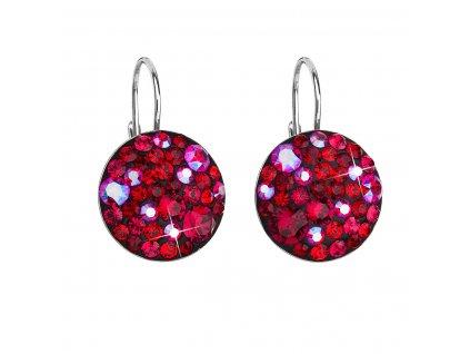 Stříbrné náušnice visací s krystaly Swarovski červené kulaté 31183.3 cherry